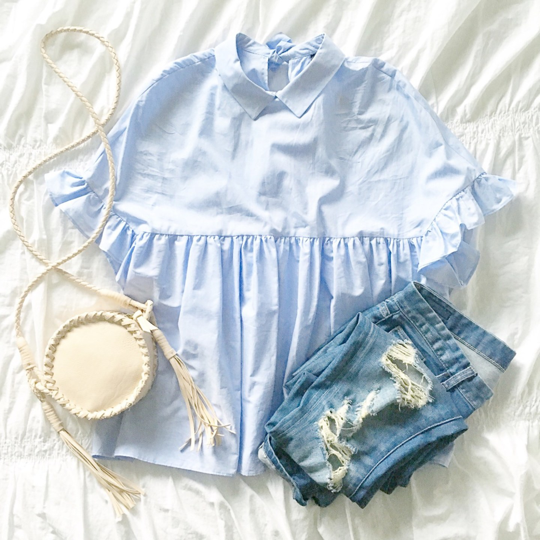 zara-ruffle-sleeve-tie-neck-blouse-distressed-jeans-tassel-canteen-crossbody