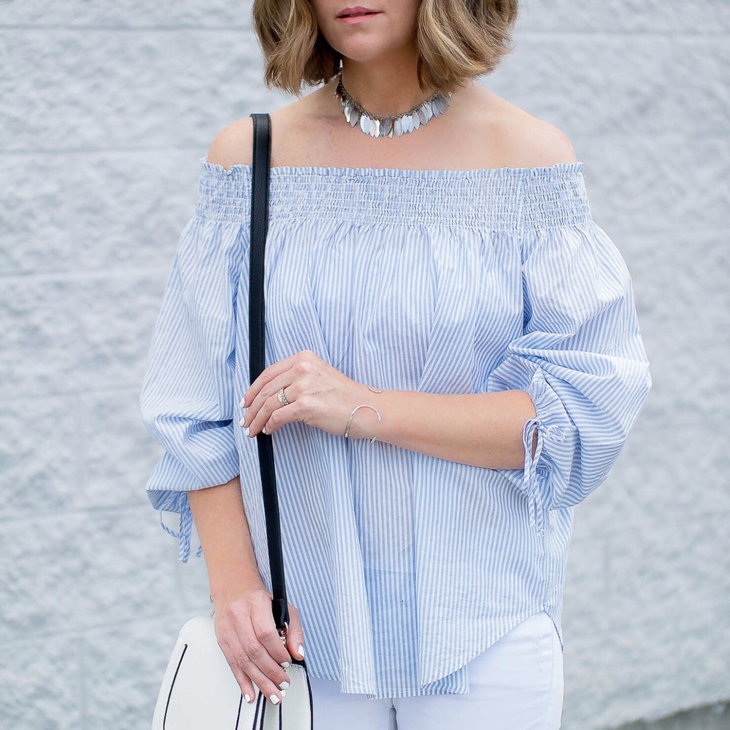 off-the-shoulder-striped-blouse-silver-choker-uncommon-good-hammered-cuff-wishes-and-reality-instagram