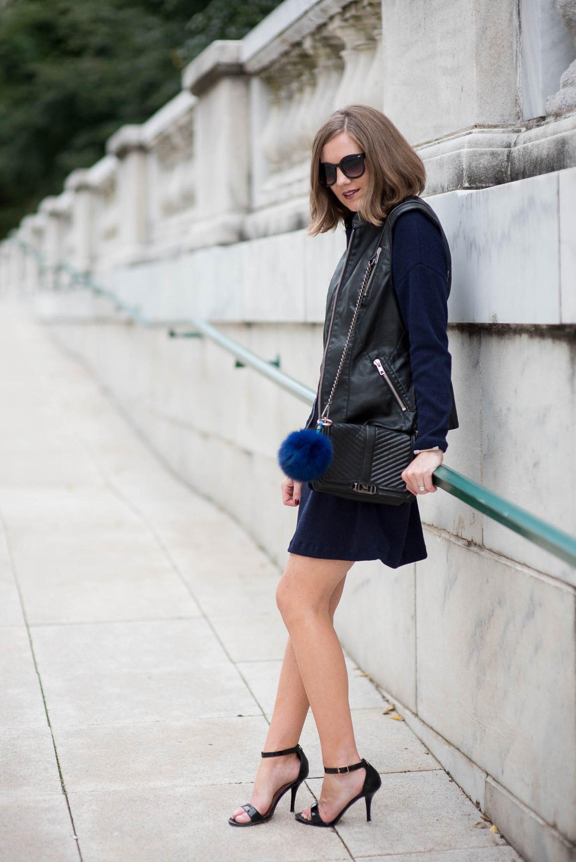 tart-faux-leather-moto-vest-lush-cowl-neck-sweater-dress-fall-layering-bag-charm-chicago-feminine-edgy