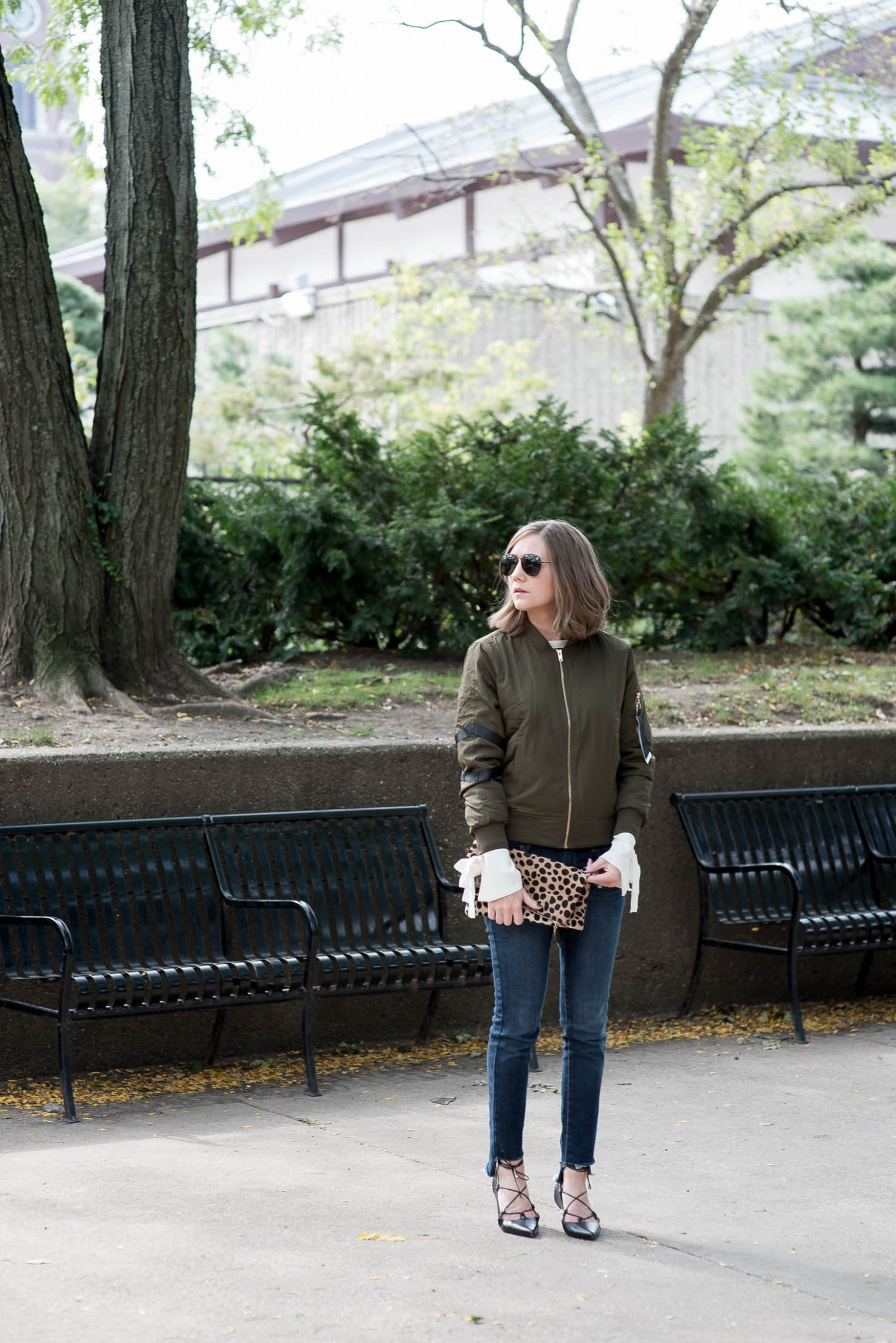 forever-21-ribbon-bomber-diy-step-hem-jeans-with-old-navy-fall-fashion-trends-clare-v-leopard-clutch-bell-sleeve-sweater