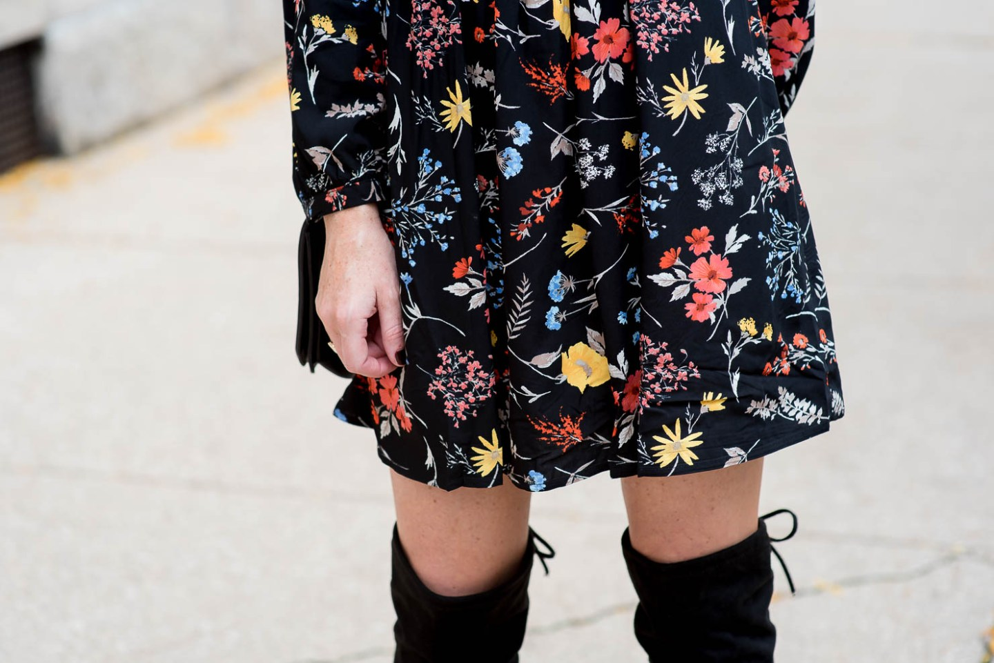 old-nay-dark-floral-tunic-dress-over-th-knee-boots-ruffle-choker-dressing-up-a-casual-dress-how-to-make-an-inexpensive-dress-look-expensive-18