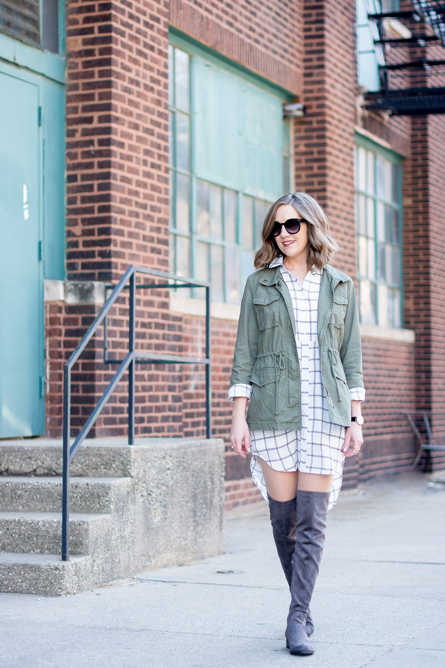A Year in Review: My Favorite Outfits of 2016, a shirt dress, cargo jacket and over the knee flat boots