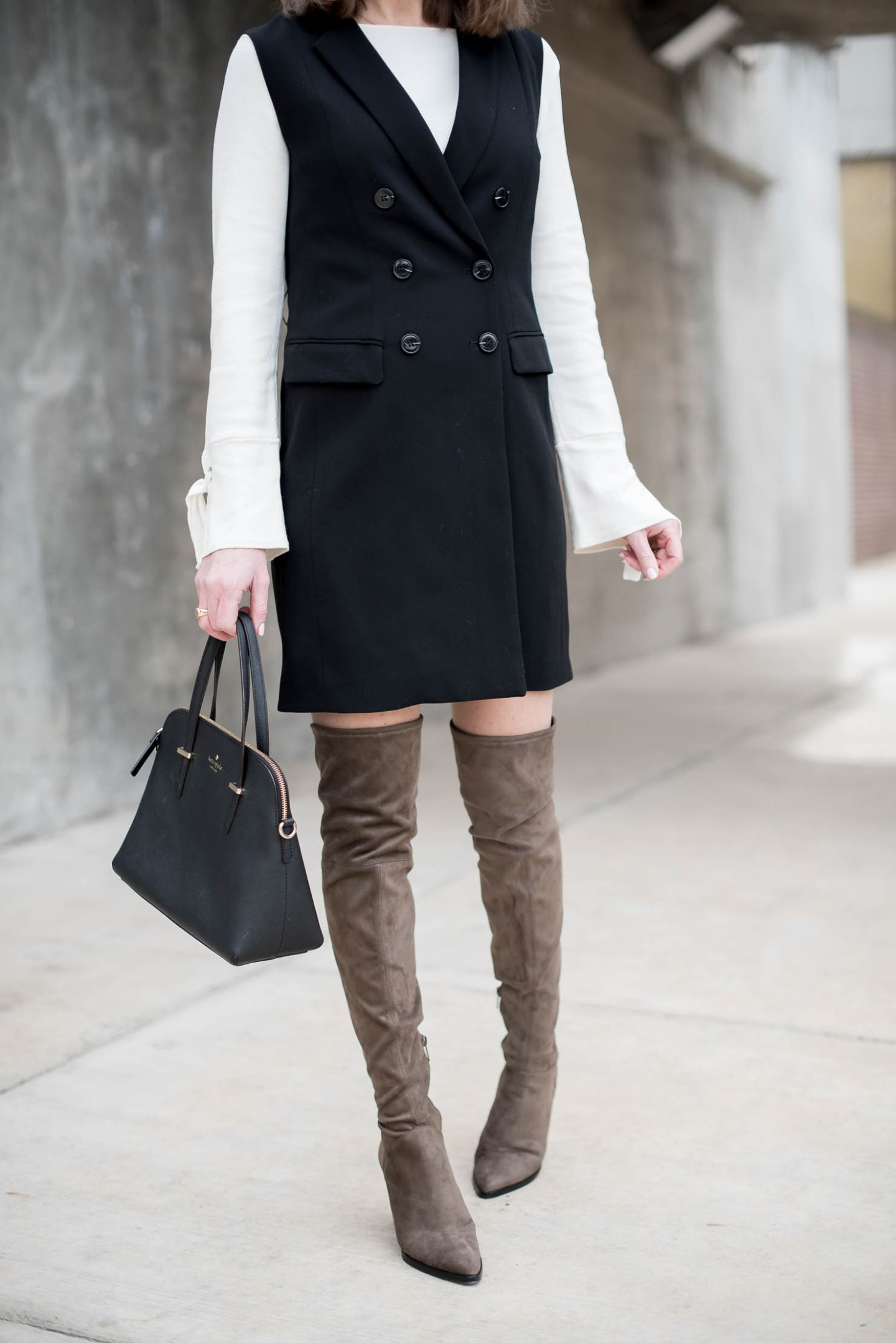 h&m-double-breasted-sleeveless-trench-vest-bell-sleeves-tie-cuffs-marc-fisher-alinda-boots-best-over-the-knee-boots