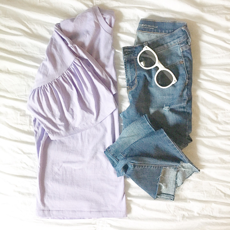instagram-lavender-bell-sleeve-tee-white-round-sunglasses