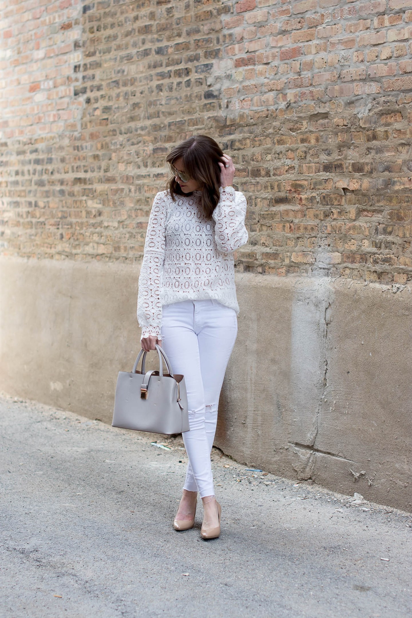 all white outfit, celine handbag dupe, the prettiest white lace blouse under $20, shein