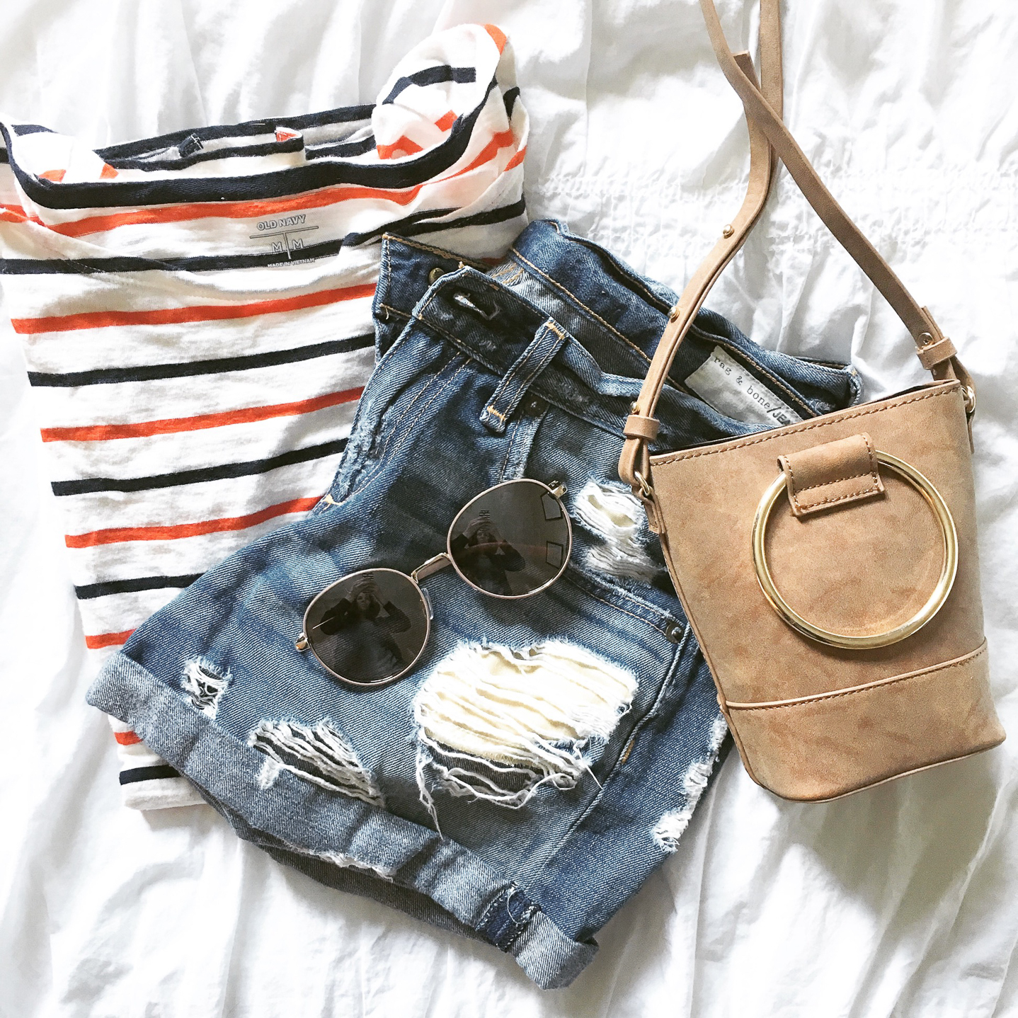 my favorite outfits for summer, Instagram, life lately, white tee with blue and red stripes distressed, shorts, ring bag