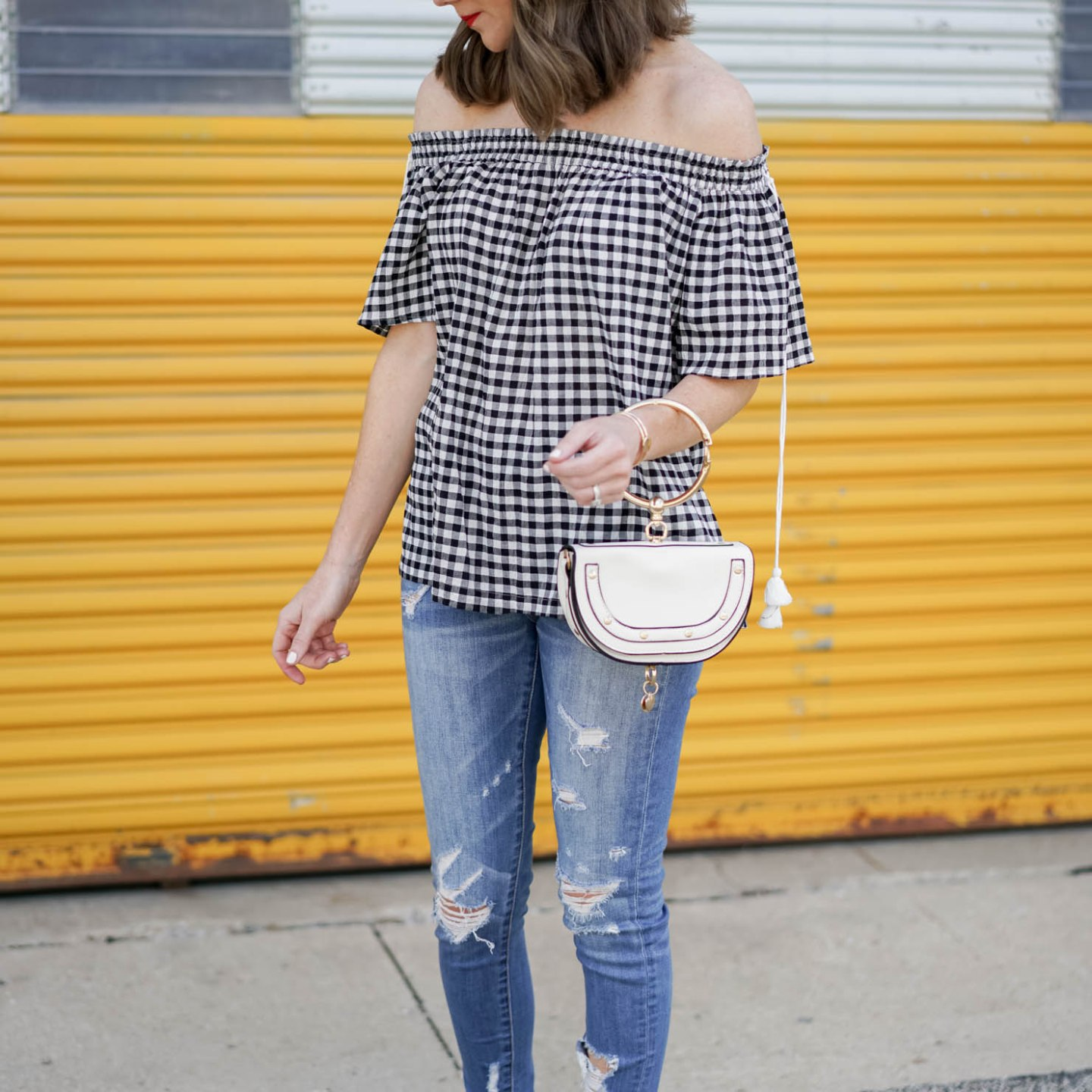 loft off the shoulder gingham top with tassels, the best distressed jeans, chloe nile dupe, end of summer uniform