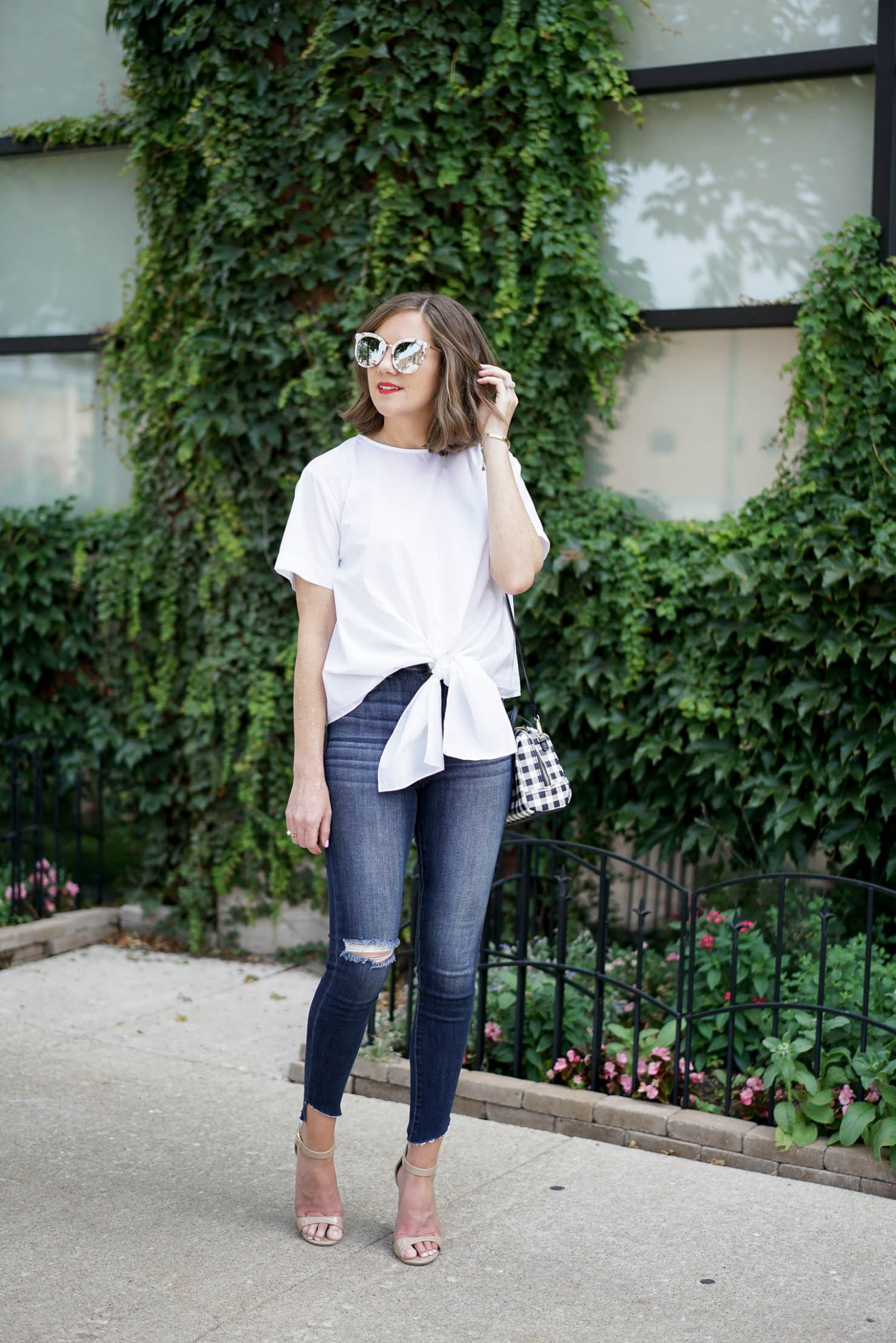 how to transition your favorite summer top for fall, the best affordable suede moto jacket, blanknyc, the tie front top, fall trends 2017, classic transitional piece you need for fall