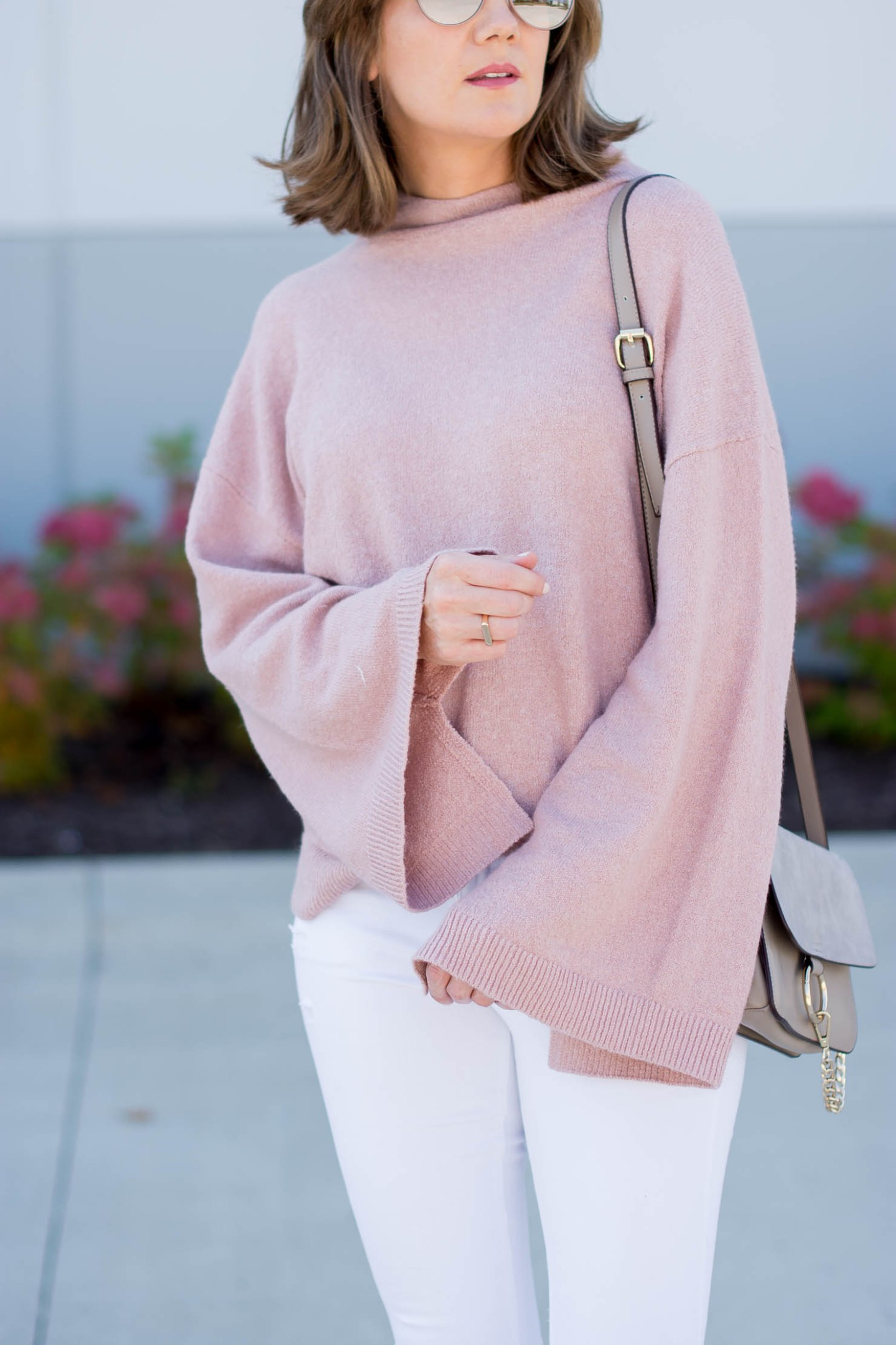 pink bell sleeve sweater soft neutral fall outfit, the best fall booties, jeffrey campbell crowel booties, pink for fall
