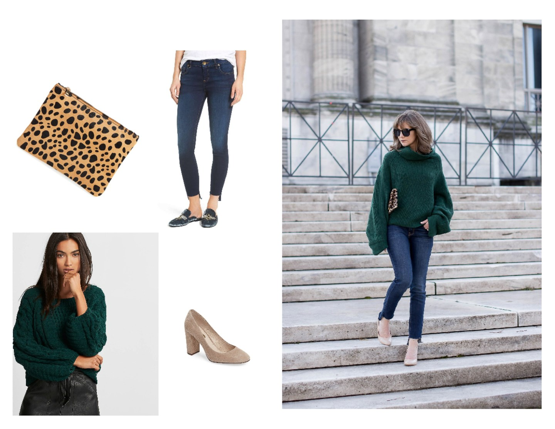 oversized sweater and block heel pumps, cozy thanksgiving outfit, easy thanksgiving outfit ideas, casual thanksgiving look