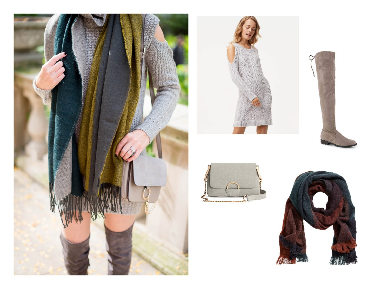 scarf and sweaterdress outfit, easy thanksgiving outfit ideas, casual thanksgiving look