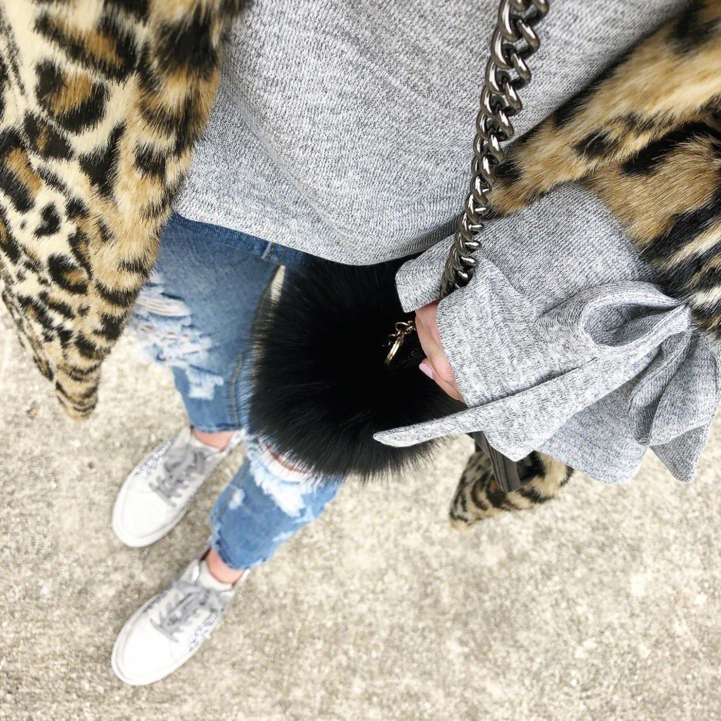 tie-sleeve-sweater-leopard-coat-sneakers-outfit