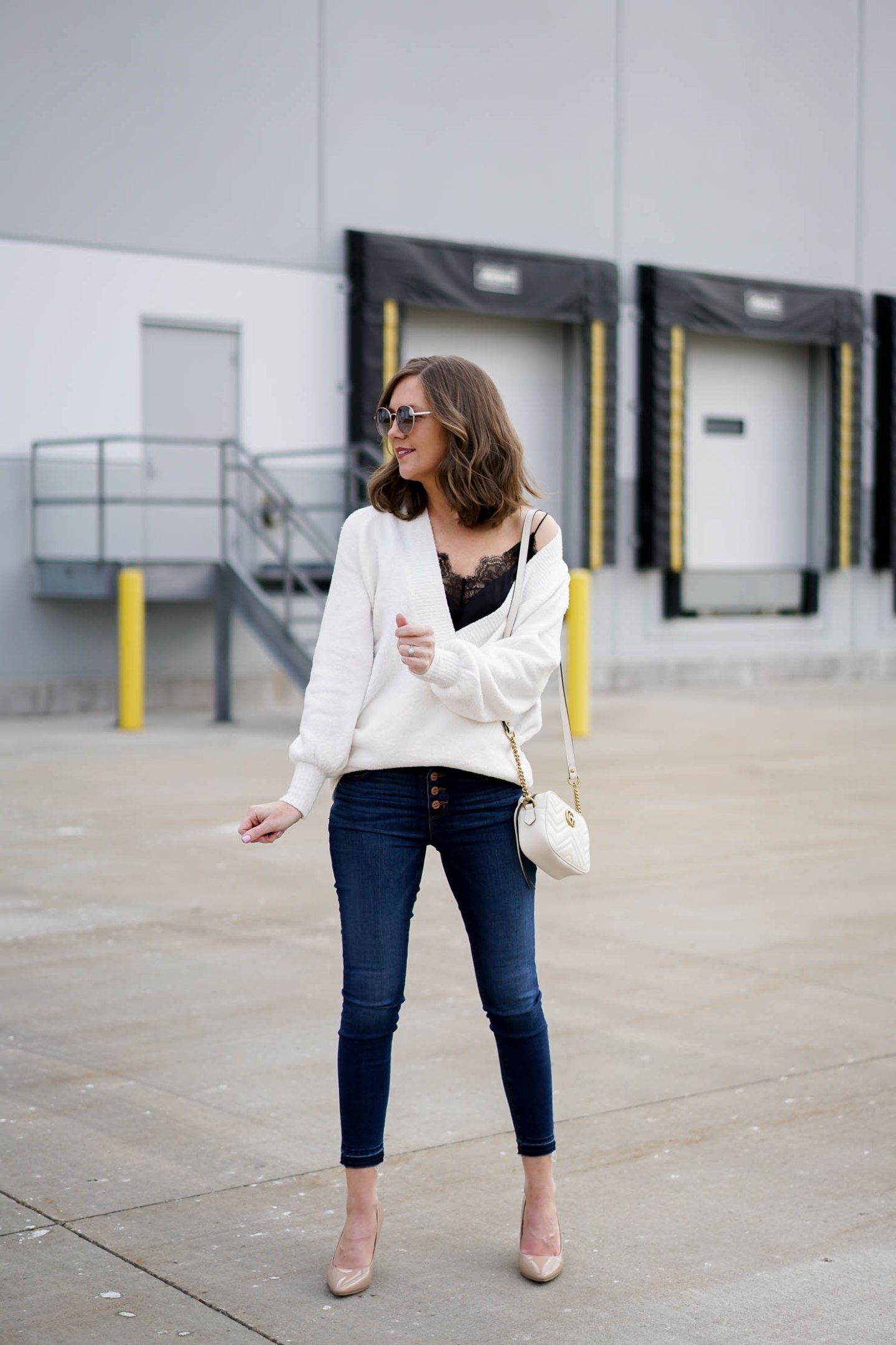 the perfect spring sweater, loft wrap sweater, loft button fly skinny jeans, spring denim trends, the most versatile black lace cami, spring fashion 2018