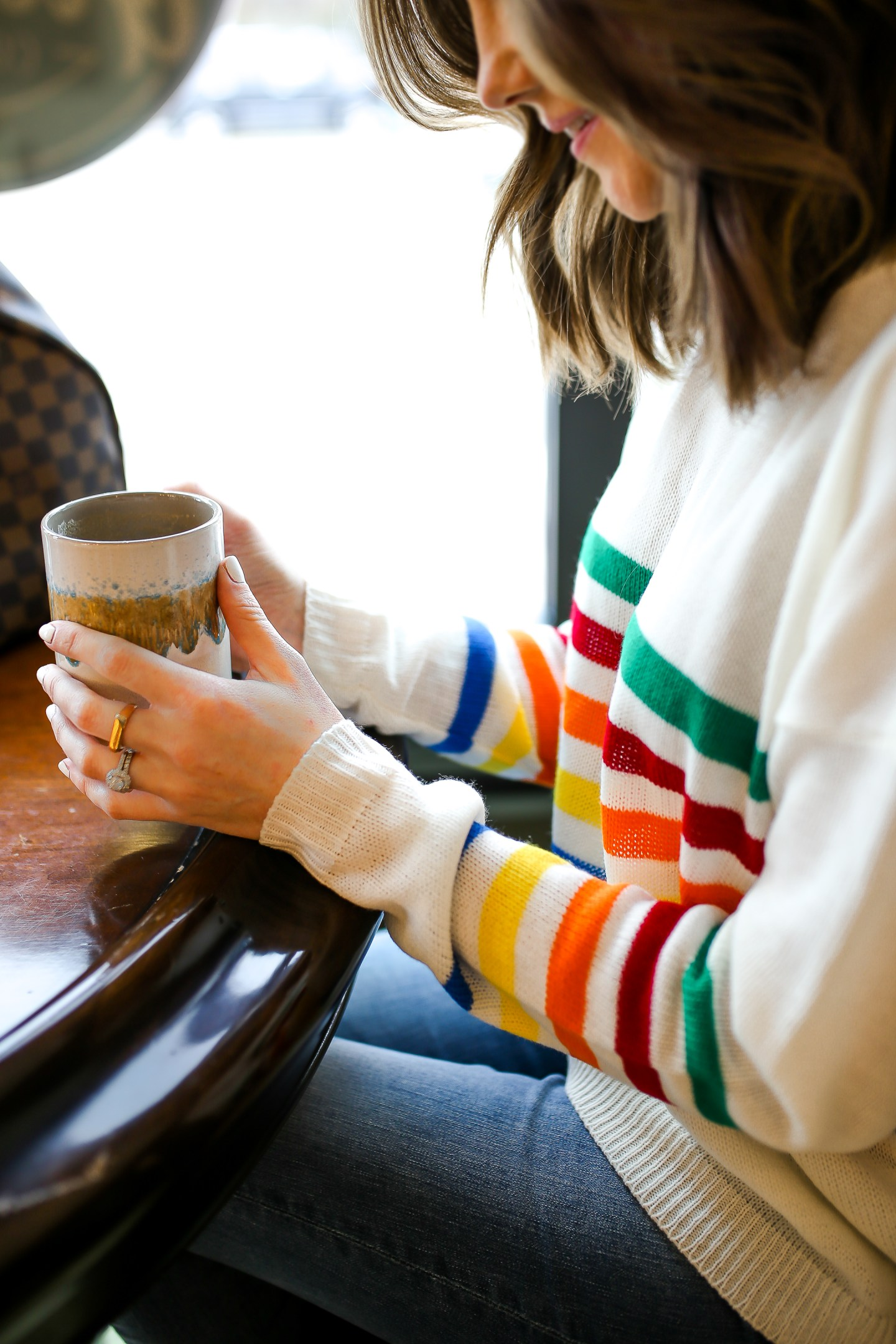 the importance of taking me time as a mom, rainbow striped sweater, cute casual weekend look, the importance of taking time for yourself as a mom, higher grounds coffee maintaining friendships, the importance of friendships in a womans life