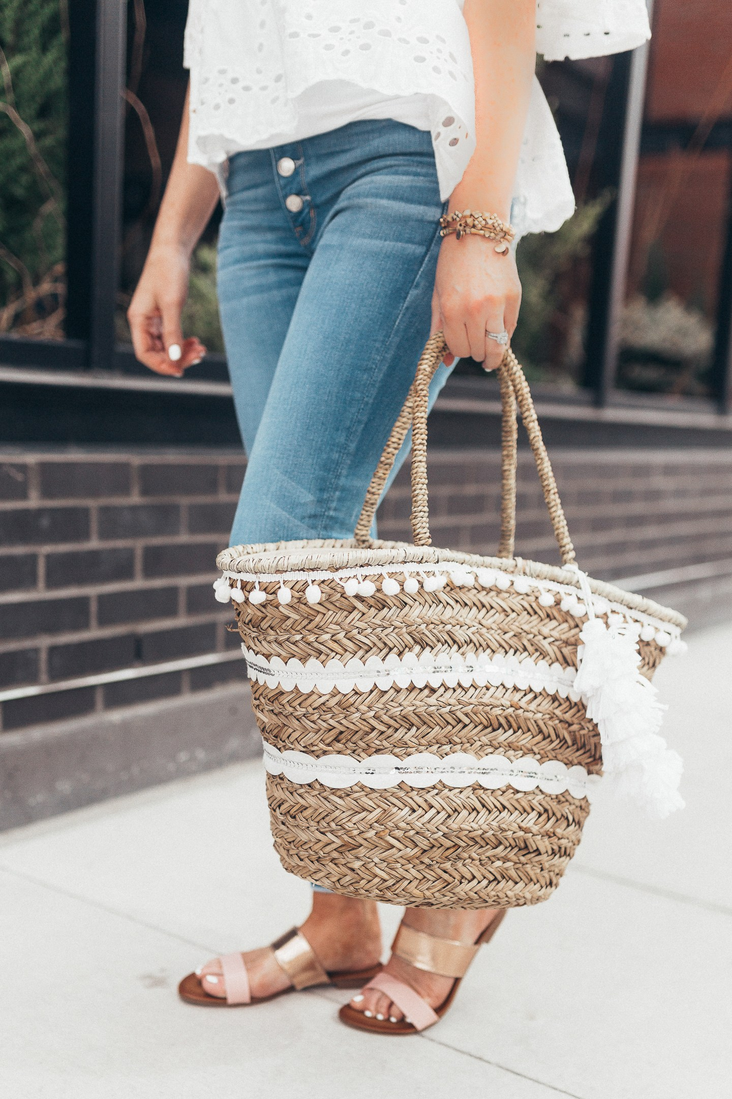 the chicest summer sandal trend, shein eyelet peplum blouse, american eagle button fly skinny jeans shopko, rose gold slide sandals, spring date night outfit