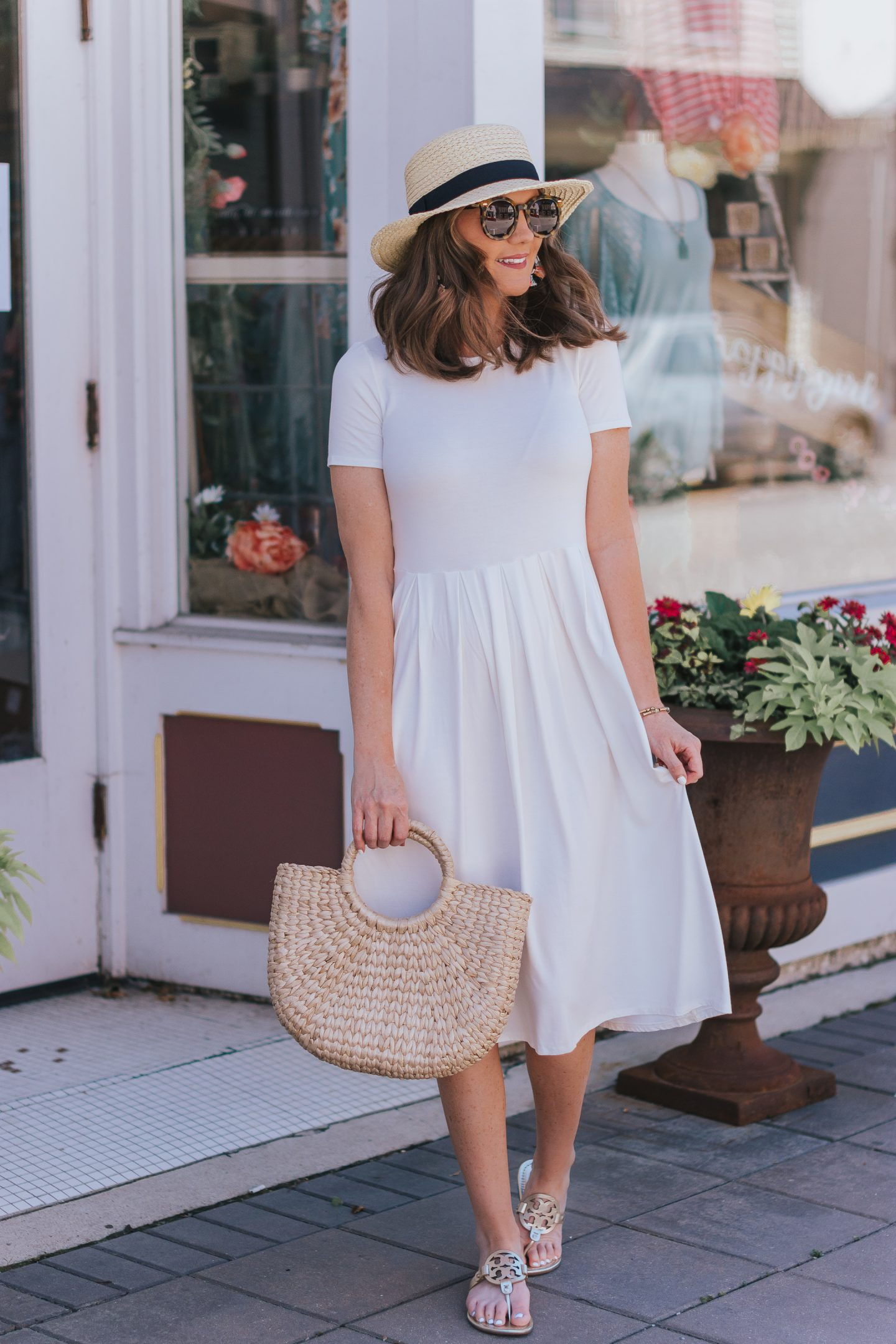 candid co update, midway point, my journey to straighter and whiter teeth, affordable teeth aligners, white midi dress panama hat outfit, what to wear to a summer party