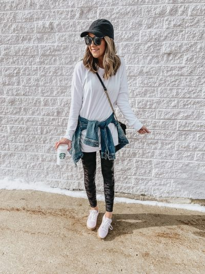 Ways to Style Leggings, spanx camo faux leather leggings, casual outfit, leggings outfit-amazon tunic, lavender Adidas sneakers