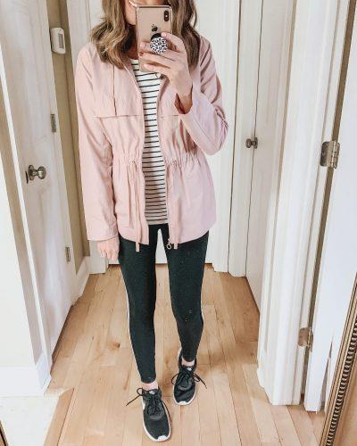 Casual spring fashion finds at Target, Target fashion, Spring Fashion, side stripe leggings, A New Day pink rain jacket