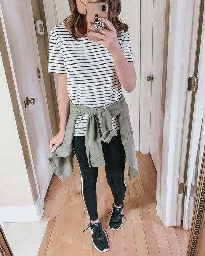 Casual spring fashion finds at Target, Target fashion, Spring Fashion, utility shirt, side stripe leggings