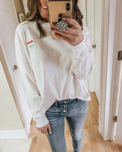Casual spring fashion finds at Target, Target fashion, Spring Fashion, cropped pullover with heart
