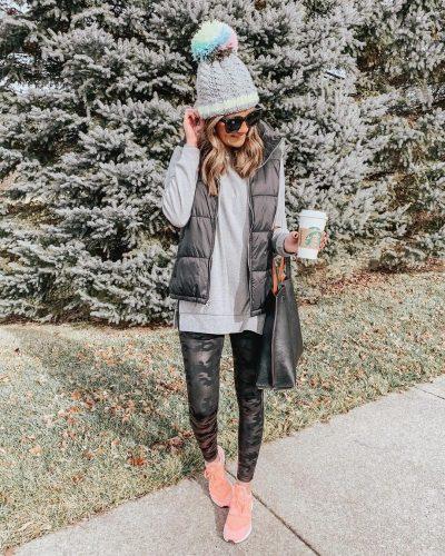 camo spanx faux leather leggings, amazon fashion, tunic tee