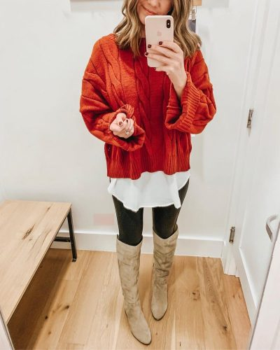 Ways to Style Leggings, cropped-sweater-styling-a-cropped-sweater-tunic-blouse-spanx-faux-leather-leggings-over-the-knee-boots-how-to-layer