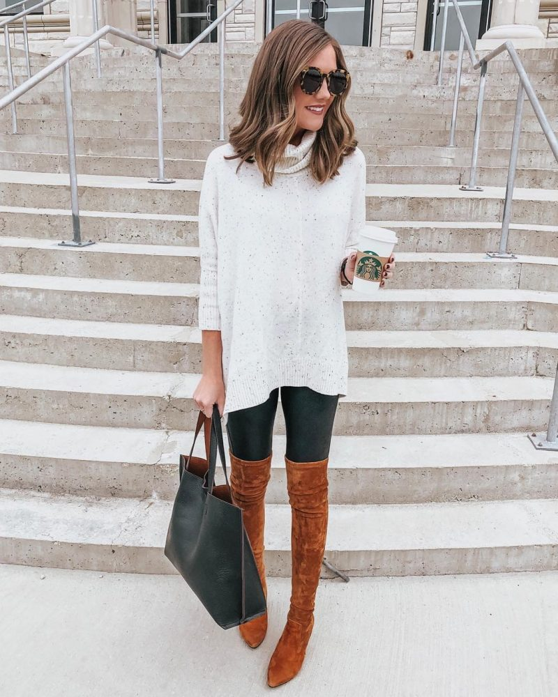 Ways to Style Leggings, leggings outfit, Spanx faux leather leggings, loft poncho sweater, over the knee boots