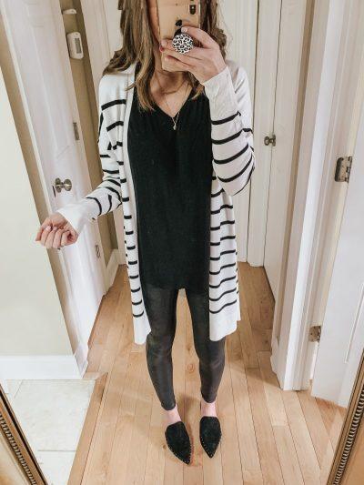 Casual spring fashion finds at Target, Target fashion, Spring Fashion, white and black striped spring long spring cardigan