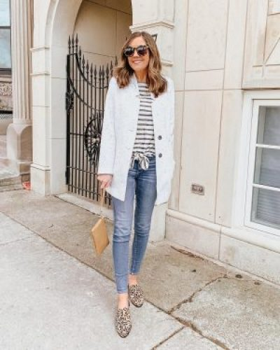 striped tie front top, leopard mules, spring fashion
