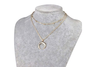 horn crescent gold necklace