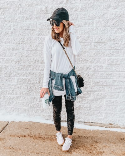 transitional spring outfits, white tunic long sleeve tee, Amazon, camo leggings