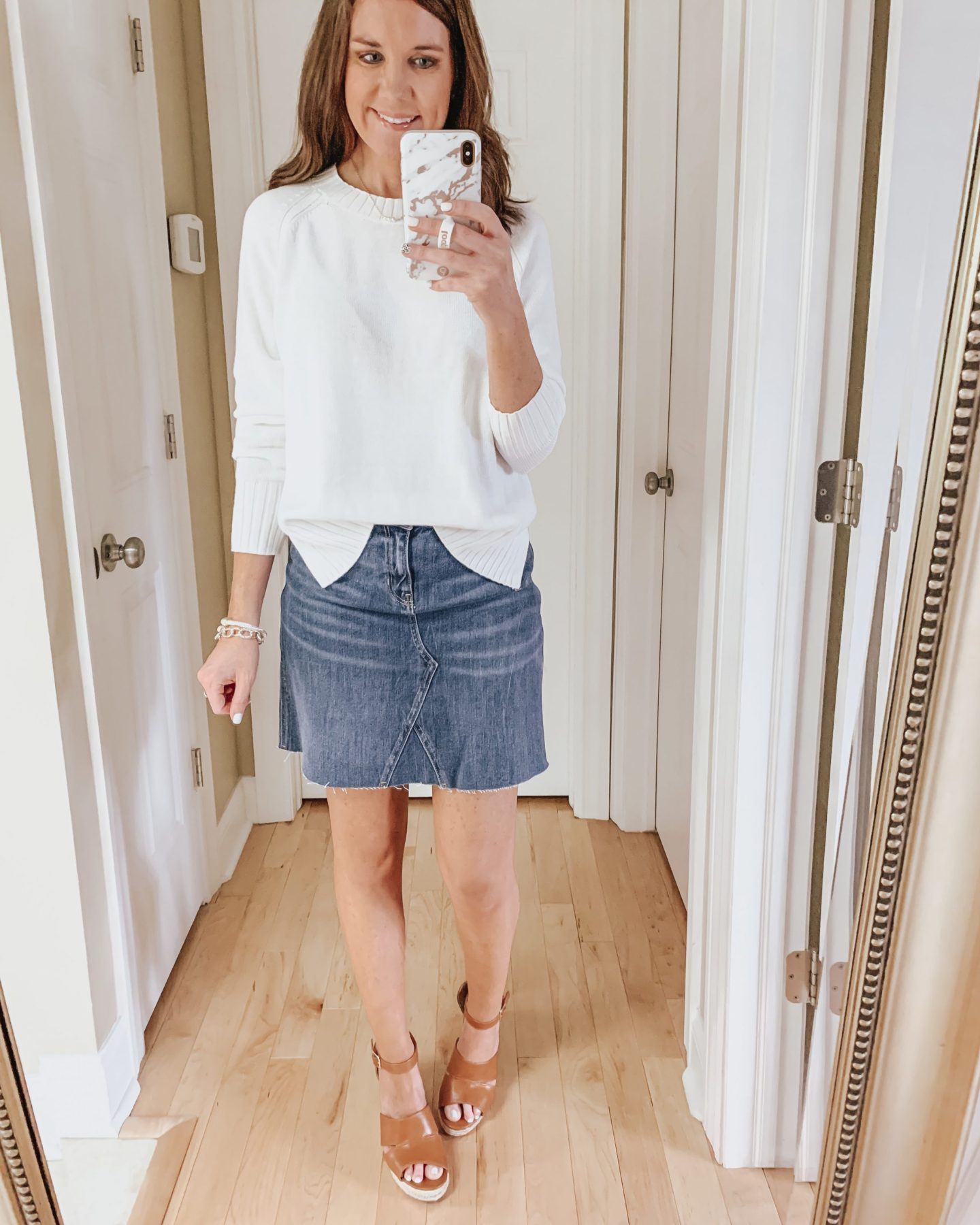 six ways to style a skirt, wedges, denim skirt, sweater, Old Navy