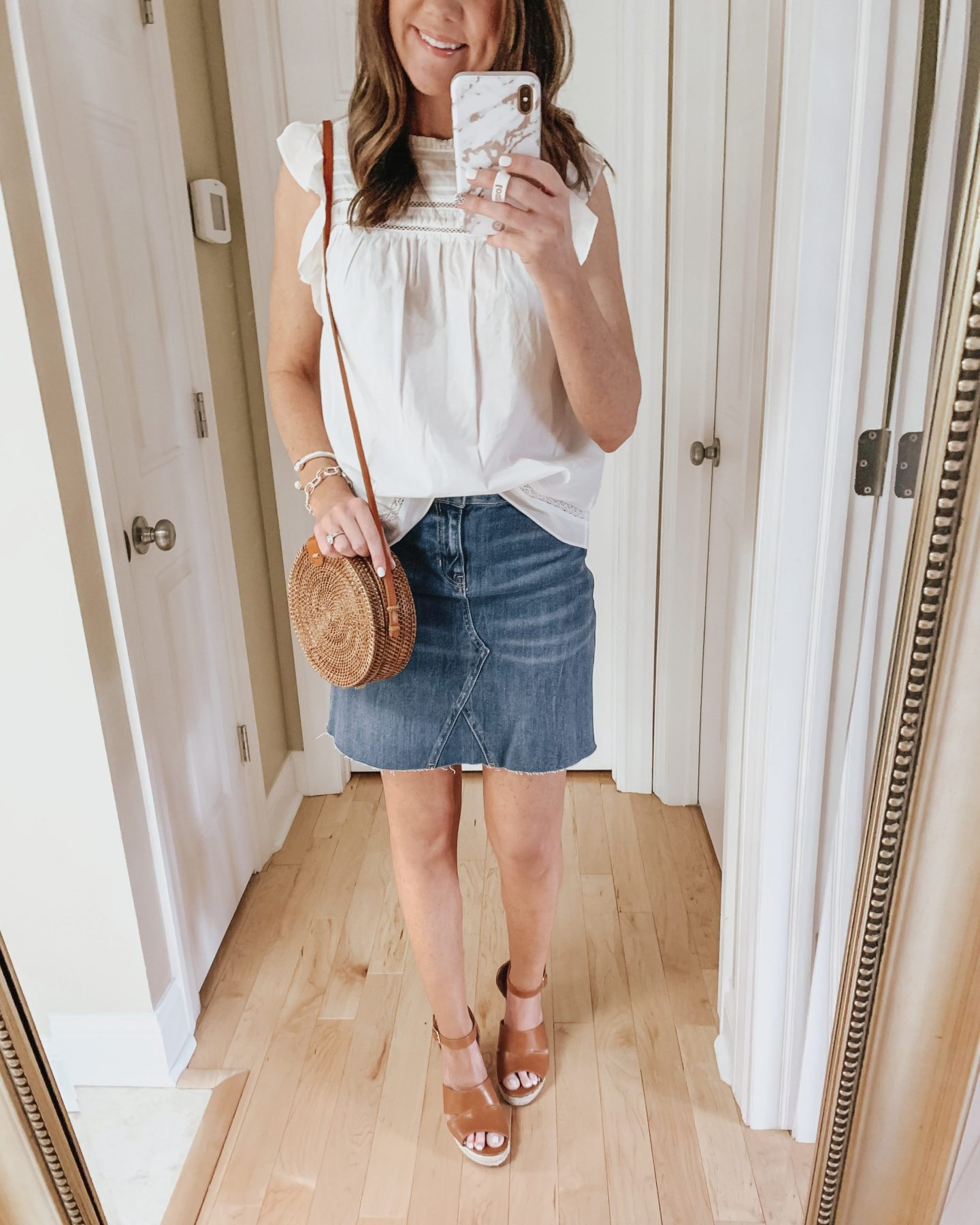 six ways to style a skirt, denim skirt, Old Navy, dressy, wedges, ruffle blouse