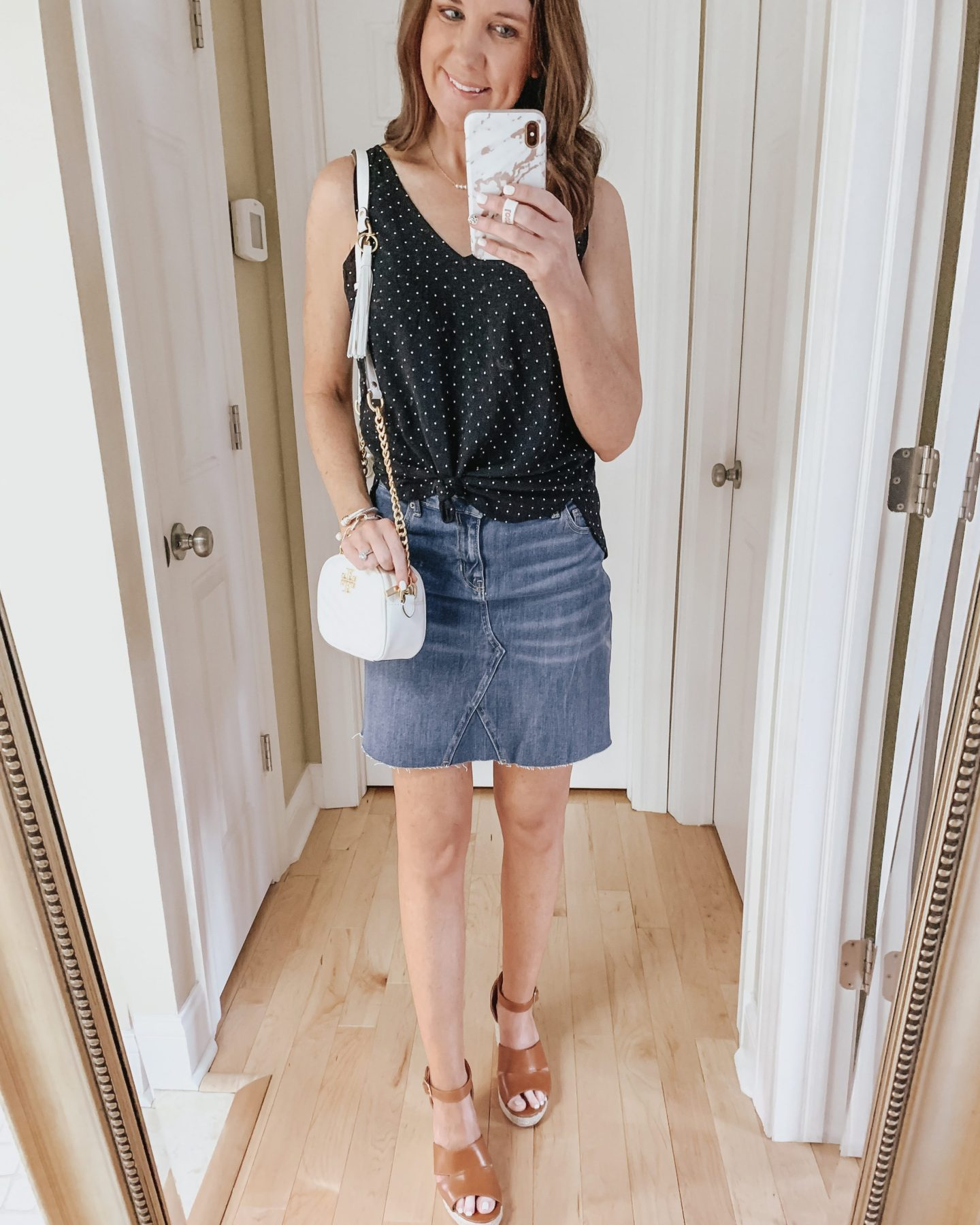 six ways to style a skirt, denim skirt, Old Navy, dressy, wedges, Tory Burch