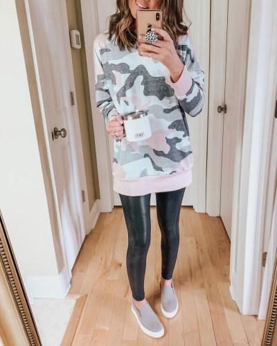 camo sweatshirt, amazon fashion, faux leather leggings, casual outfit