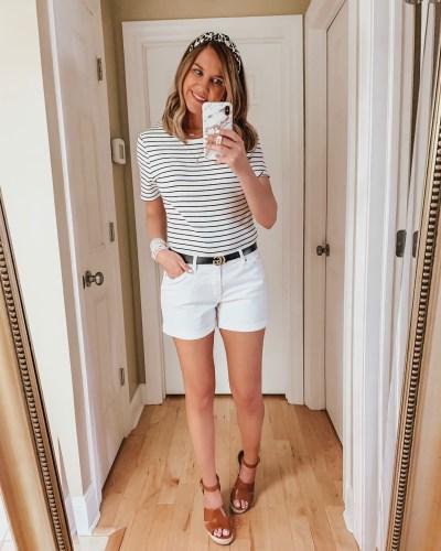 nine ways to style white shorts, leopard headband, Gucci dupe belt, striped tee