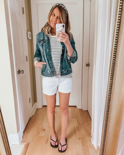 nine ways to style white shorts, striped tee, casual outfit, leopard headband