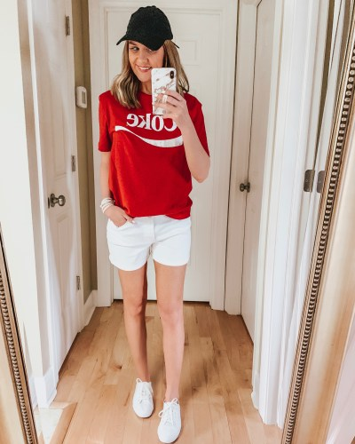 nine ways to style white shorts, graphic tee, Coke tee, casual outfit