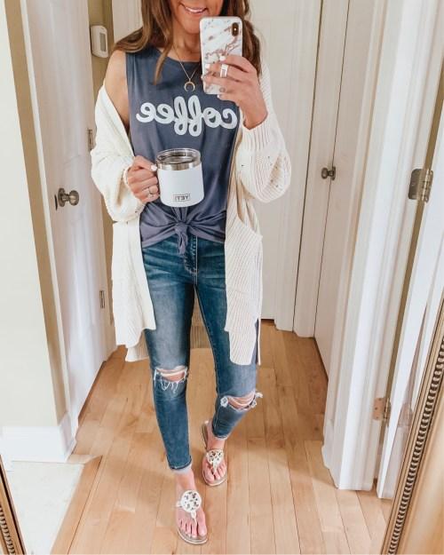 how to shop social media, Target coffee tee, oversized cardigan, yeti mug, weekend outfit