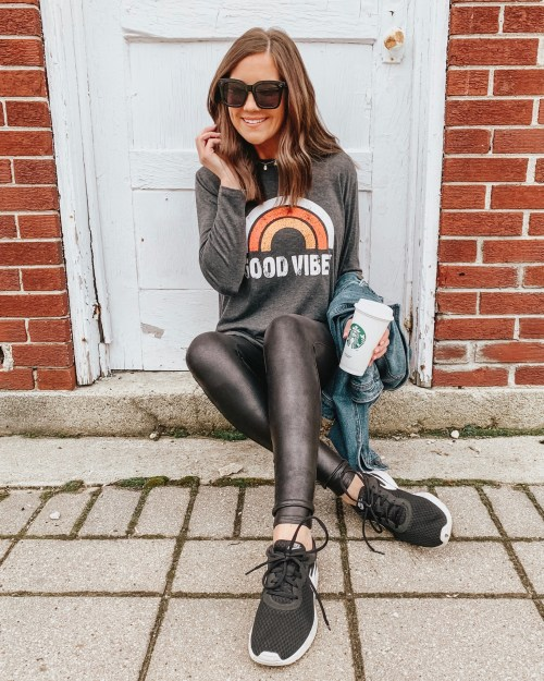 how to shop social media, amazon good vibes long sleeve tee, casual faux leather leggings outfit