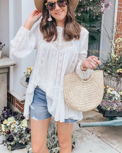social media outfit, boho outfit, free people tunic, panama hat