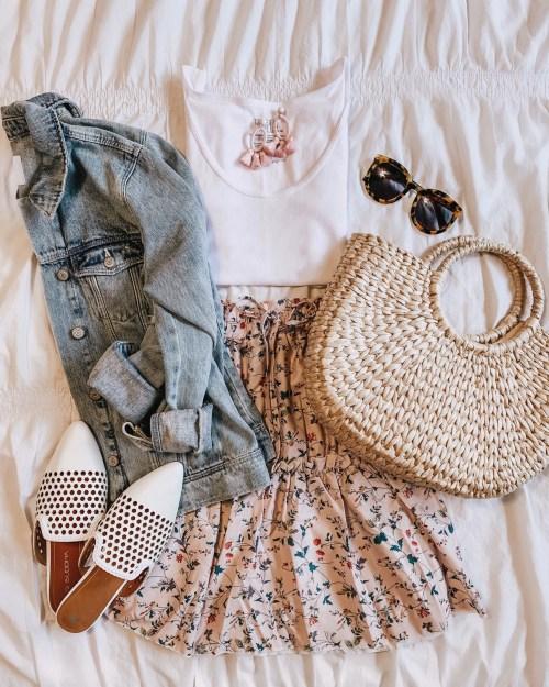 how to shop social media, feminine mini skirt outfit, denim jacket pink, mules