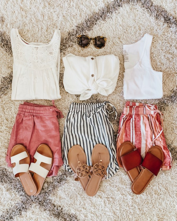 Target summer fashion, pull on shorts, vacation outfits, easy summer outfits, flatlay