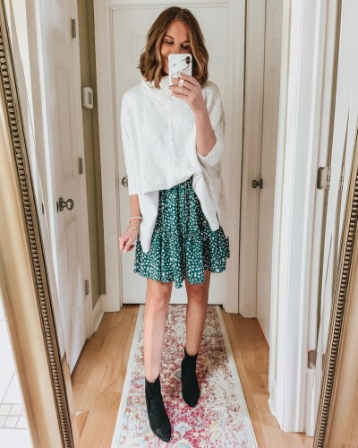 styling the Amazon mini skirt for fall, tiered skirt, booties, poncho sweater, spotted skirt