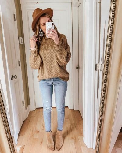 transitional fall outfits, Amazon fashion, chunky tan sweater, mock neck sweater