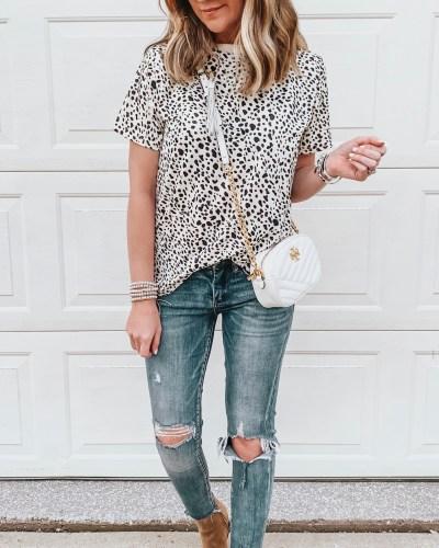 Transitional fall outfits, amazon fashion, leopard tee shirt