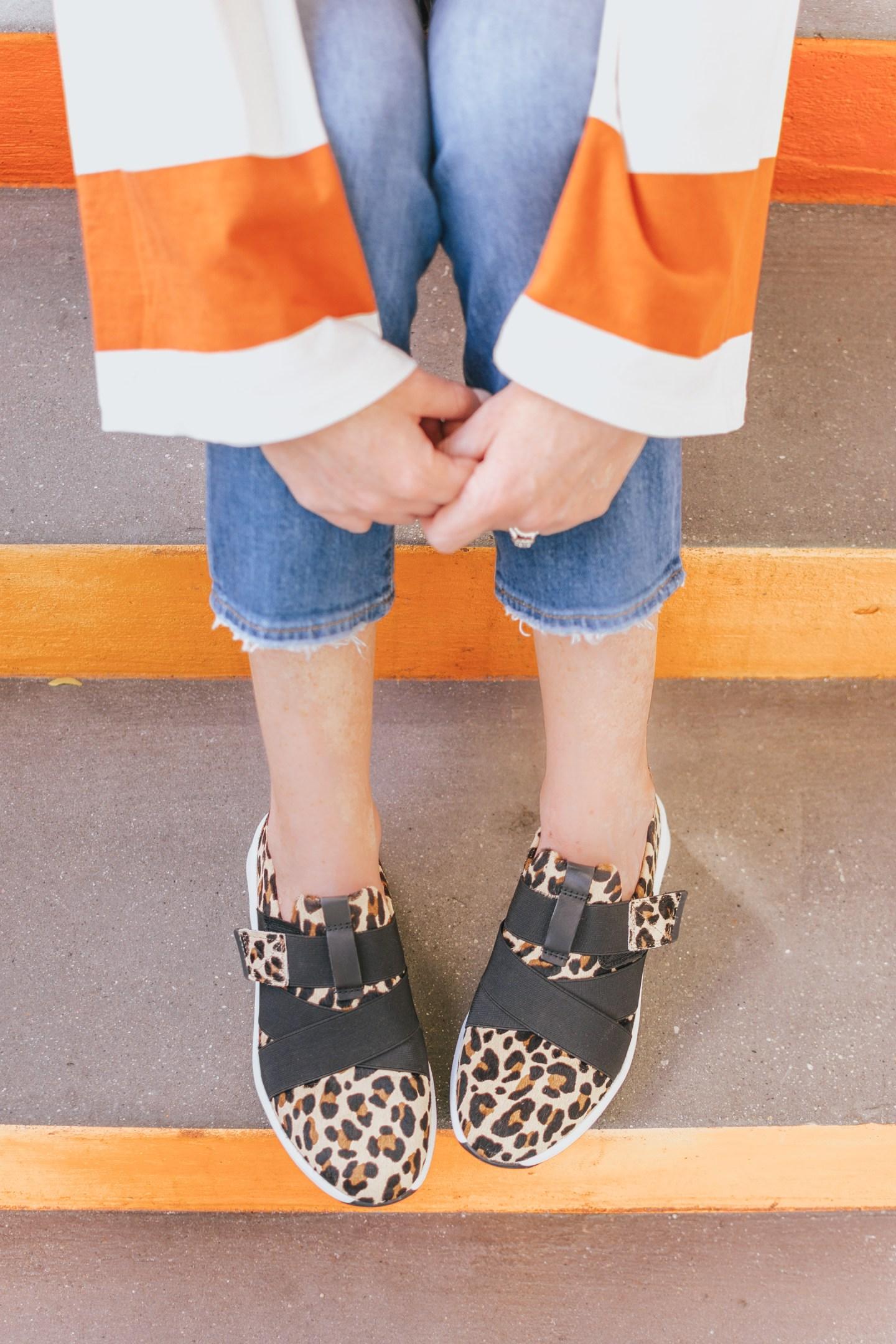 Zappos, Clarks Un Rio strap, leopard sneakers, how to incorporate leopard print into your wardrobe