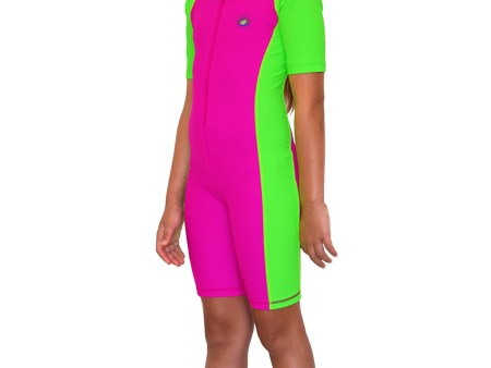 Girls Full Body Swimsuit, Sun, and UV Protection Rose Lime