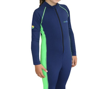 Girls Full Body Sun and UV Protective Swimwear Navy Lime