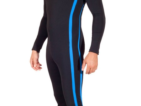 Mens UV Protection Suit Dive Skin With Pocket UPF50+ Black Blue Chlorine Resistant